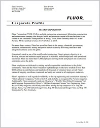 Click to open Fluor Corporation Corporate Overview.