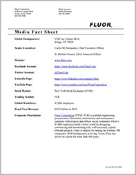 Click to open Fluor Corporation Media Fact Sheet.