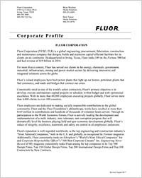 Click to open Fluor Corporation Corporate Profile.