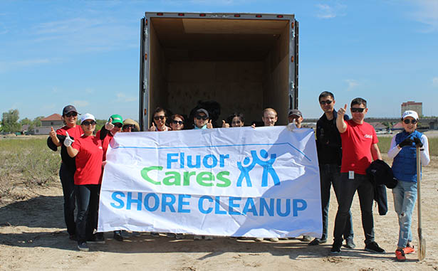 Fluor Cares volunteers in Kazakhstan begin the office's first Global Shore Cleanup event