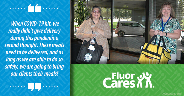 Fluor Cares continued to deliver meals to the community during the outbreak.