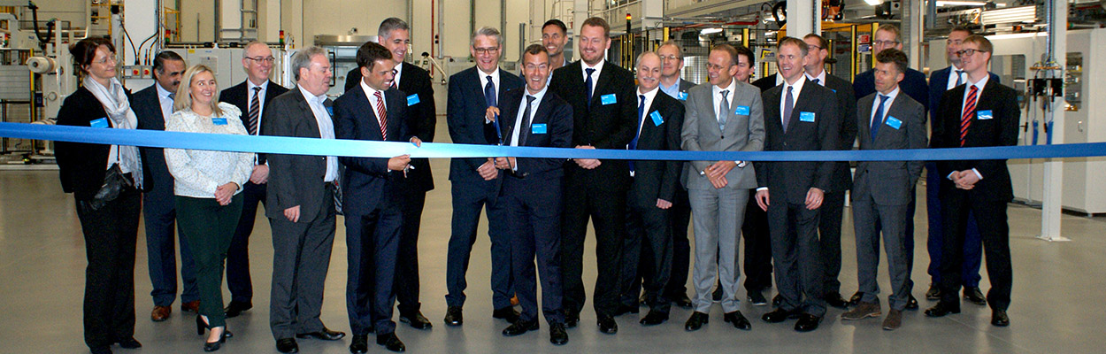 Carmelo Lo Faro - president of Solvay's Composite Materials Global Business Unit officially opening the new high-performance adhesives manufacturing facility.