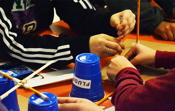 Students at Medrano Middle School participate in the Fluor Engineering Challenge