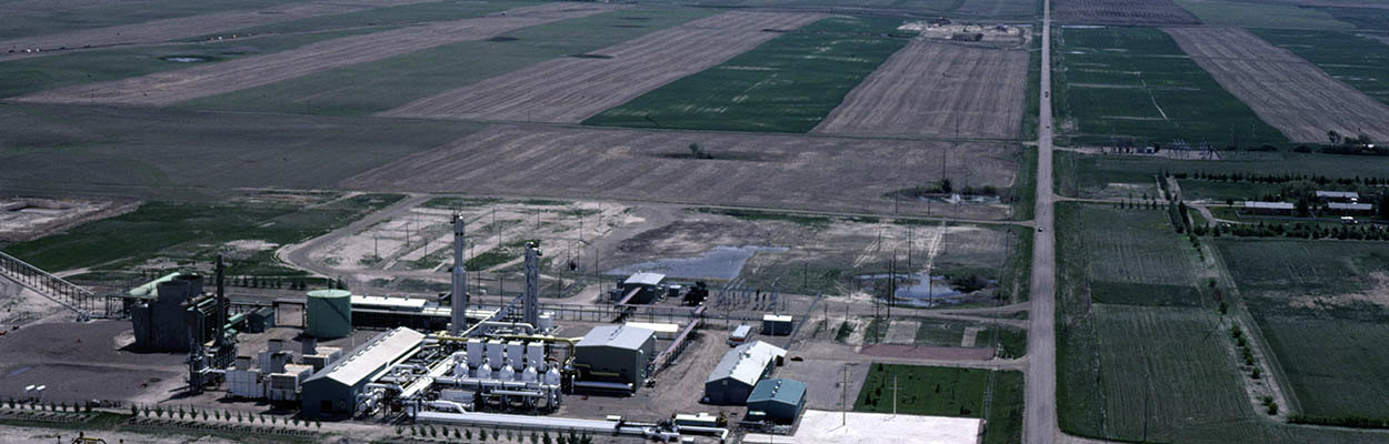 Natural gas liquids extraction plant site aerial view - electric conversion